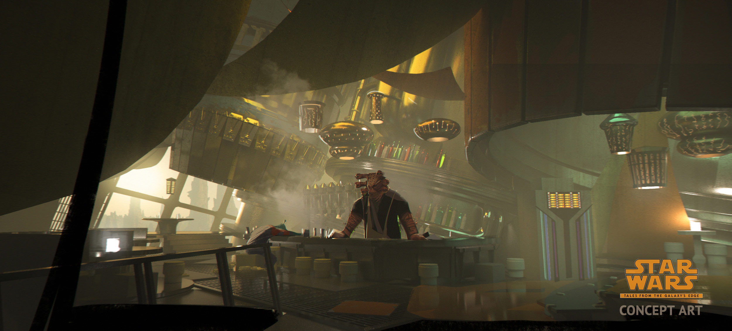 A concept art of Seezelslak's cantina: an Azumel alien standing behind the bar with a smoky/hazy environment, and what looks like a grimy but comfortable setting to sit down and hear a story.